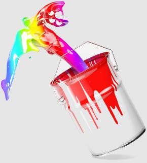 Eimer spritzt mit bunter Farbe vor einem weißen Hintergrund